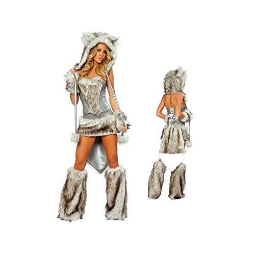 Wolf Kostüm Sexy - Fashion LeGastronomeSexy Wölfinnen-Kostüm, Sexy Wolfs-Kostüm für Frauen - Einheitsgröße (S/M)