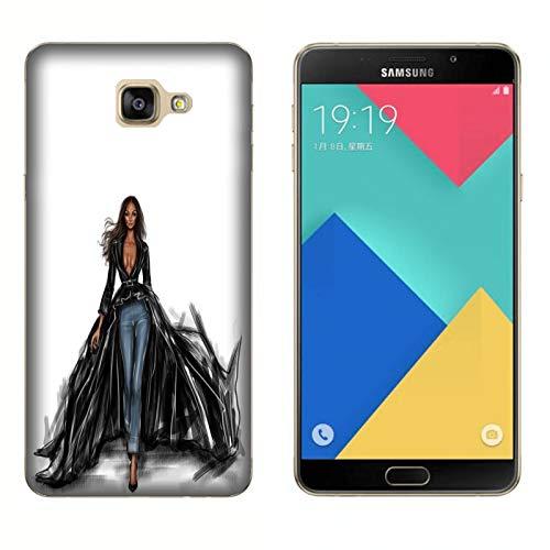 Hülle Galaxy A9 (2017) Case Samsung Galaxy A9 (2017) Leidenschaft Mode einkaufen Jeans und tief geschnittene Schwarze Jacke/Cover Druck auch an den Seiten/Anti-Rutsch Anti-Rutsch Anti-Scratch Sch