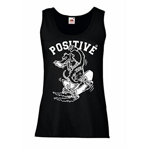 Femme Débardeur sans Manche Positive - Vêtements de Skateboard, Pour les Patineurs, Skateboard Drôle, Cadeau de Rue Cool Noir Multicolore