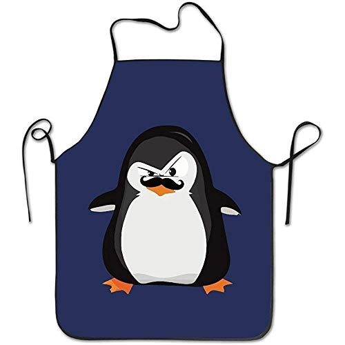 dfhdshsd Cute Black White Penguin and Funny Mustache White Funny Unisex Hen Apron with Black Border
