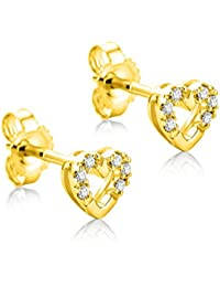 Orovi Woman Hoops Earrings 9 ct / 375 Yellow Gold With Diamonds Brilliant Cut 0.10 ct