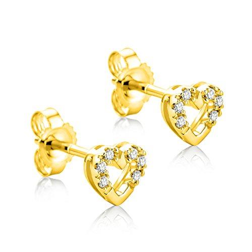 Orovi Ohrringe für Damen Ohr-Schmuck Gelbgold 9 Karat/ 375 Gold Ohrstecker Herz mit Diamant Brillanten 0.06 ct