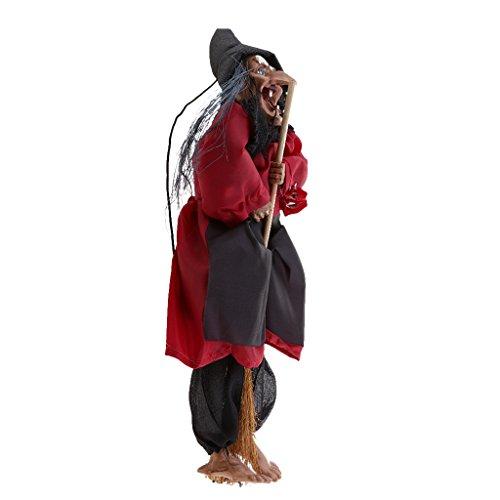 Gazechimp Halloween Hexe mit leuchtenden Augen und Besen, 30 * 10cm - (Animiert Hexe)