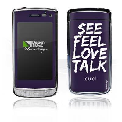 LG GD900 Crystal Aufkleber Schutz Folie Design Sticker Skin Laurèl See Feel Love Sprüche Crystal Laurel