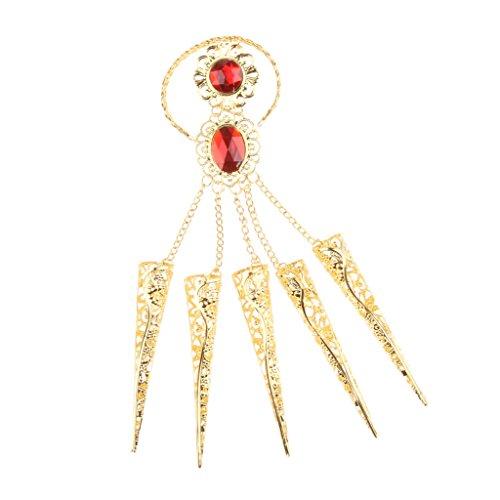Baoblaze Bauchtanz Armschmuck Gold Künstlich Lang Nägel Krallen Pfote Talon Finger Cosplay Dekoration