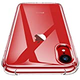 "Garegce Coque iPhone XR Clair, Souple Clair TPU Silicone/Housse Bumper, [Cadeau Ecran en Verre Protecteur][Shock-Absorption] Anti-dérapante Cover iPhone XR(2018)-6.1""- Transparent"