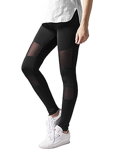 Urban Classics Ladies Tech Mesh, Leggings Femme, Noir-Noir (7), XL