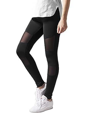 Urban Classics Ladies Tech Mesh Sport Leggings, lange Damen Fitnesshose mit halbtransparenten Einsätzen, Größe S