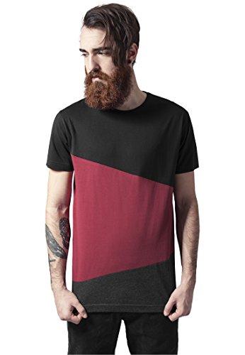 Urban Classics Herren T-Shirt Long Shaped Zig Zag Tee blk/burgundy/cha