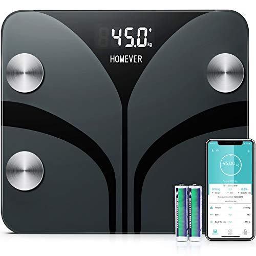 Pèse Personnes Impédancemètre, Homever Balance Pese Personne avec 13 Données physiques, Balance Connectée APP Analyse Graisse, Masse Musculaire, Osseuse, 180kg/400lb/28st
