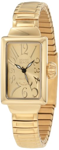 Glam Rock Miami Beach Art Deco MBD27154 26mm Stainless Steel Case Gold Plated Stainless Steel Mineral Women's Watch