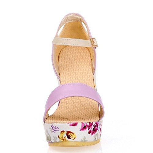 TAOFFEN Femmes Mode Compenses Sandales Talons Hauts Plateforme Sangle De Cheville Floral Chaussures Violet