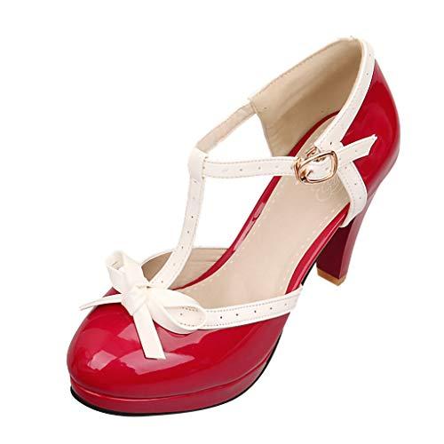 FNKDOR Schuhe Damen High Heels Mary Jane T-Strap Pumps Ankle Wrap Runder Kopf Kitten Heel Sandalen Rot 37 EU Heel Ankle Wrap