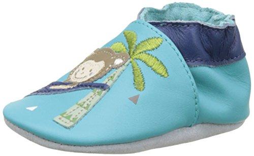 Robeez Lazy Monkey, Chaussures de Naissance Bébé Garçon, Bleu (Turquoise), 21/22 EU