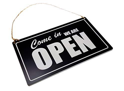 Letrero de Puerta Abierta o Cerrada, Color Negro y Blanco, Grabado, Reversible, Doble Cara, para Colgar