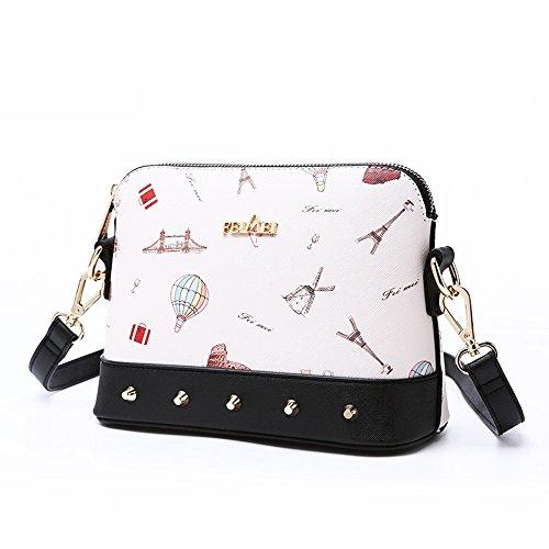 Mini sacchetto di estate, zaino semplice obliquo della spalla selvatica di modo coreano, borse delle coperture ( Colore : White+black ) White+black