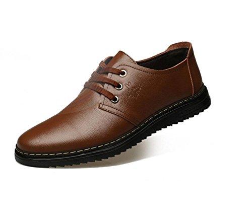 GRRONG Chaussures En Cuir Pour Hommes En Cuir Véritable Mode Loisirs Noir Marron brown