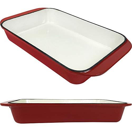 Plat à rôtir rectangulaire en fonte émaillée 2.75 L - Plat à lasagnes - Plat à rôtir profond - Pour la cuisson et la cuisson - Rouge