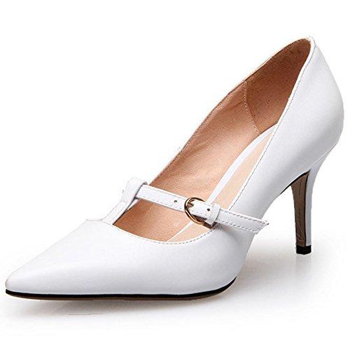 COOLCEPT Damen Pumps mit Absatz Stilett Spitze Toe Slip On Elegant Schuhe 2016 Weiß