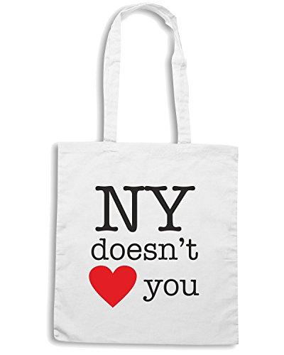 T-Shirtshock - Borsa Shopping T0016 NY non ti ama Bianco