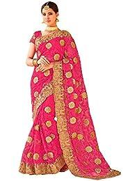 7fe37afd26 Mudit Designer sarees Women's Pink Net Heavy Party Wear saree for women  (ZohariPink-Mudit