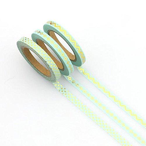 susiebsupplies '3Skinny grün Washi Tapes 5mm x 10m Rollen