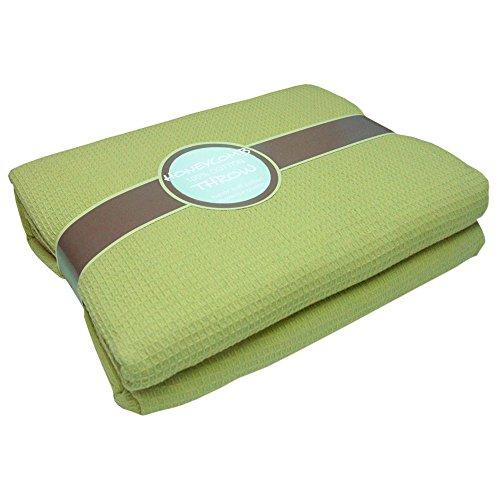 Tony\'s Textiles Tagesdecke - Überwurf mit Waffelstruktur für Sofa, Bett, Sessel - 100{15176ea0cf0398e47021a1f0b9ddd49d6054bcc4340cd51ccc6ab0071f5de7c9} Baumwolle - Grün - 178 x 254 cm