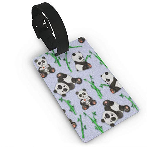 Luggage Tags Pandas and Bamboo Collages 1 Etiqueta