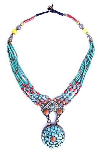 Collana di ambra, turchese e CORALLO TIBETANA PER LE DONNE BELLE A MANO collana moda da argento TIBETANO