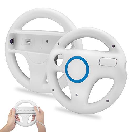 Lenkräder Wheel Controller,TechKen Wii Mario Kart Lenkrad Racing Wheel Wii Mariokart Spiel für Wii U Racing Spiele,Weiß ()