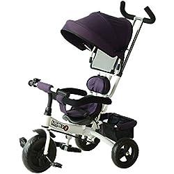 HOMCOM Triciclo para Niños con Capota extraíble y Plegable Incluye Barra telescópica para los Padres Certificado EN71-1-2-3 Color Morado y Blanco 92x51x110cm