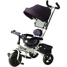 HOMCOM Triciclo para Niños con Capota extraíble y Plegable Incluye Barra telescópica para los Padres Certificado