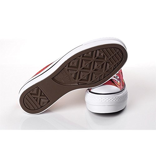 Converse Chuck Taylor All Star Ox, Sneaker Unisex Adulto Bianco-Nero-Rosso