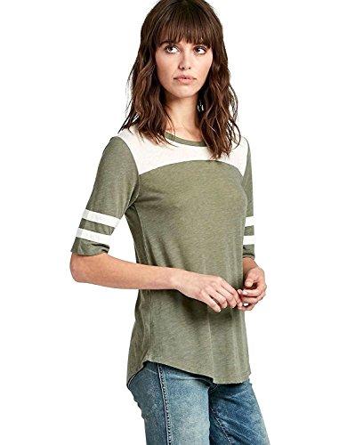Sleeve Football Tee (Lucky Brand Women's - Varsity Striped Elbow Sleeve Football Tee (Small, Green))