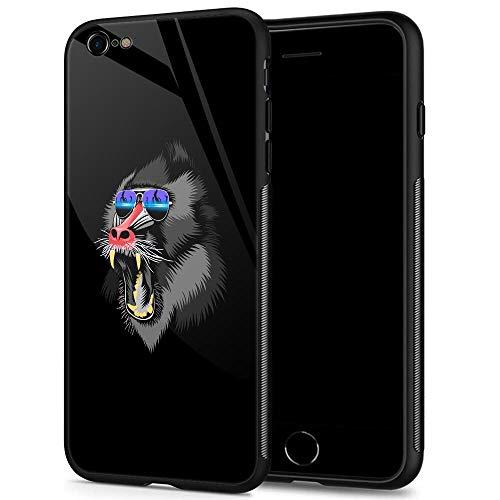 iPhone 6S Hülle, iPhone 6 Hülle, kreatives Basketball-Sport-Muster, schmale Rückseite aus gehärtetem Glas, stoßfest, Kratzfest, Handy-Hülle für Apple iPhone 6/6S, iPhone 6/6s, DJ Monkey