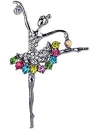 YAZILIND Joyería de plata dulce chapado coloridas Princesa Broches y prendedores para el banquete de boda del cristal