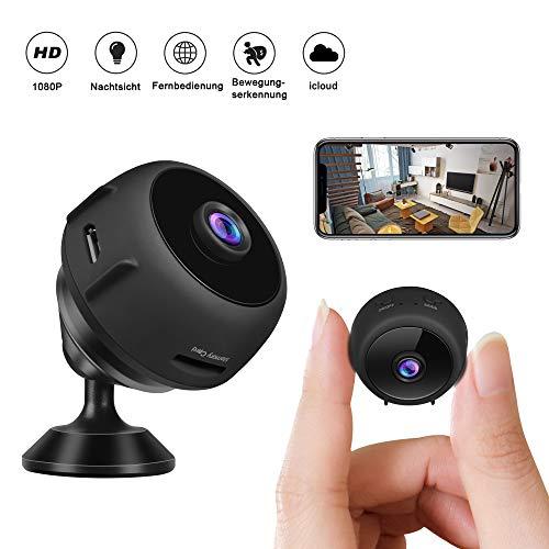 Minikameras - CUSFLYX iCloud Tragbar 1080P W-LAN Full HD Nanny Haustier Büro Garage Heimüberwachungskamera Auto IR Nachtsicht 150° Weitwinkel Bewegungserkennung Fern- Video für Android und IOS