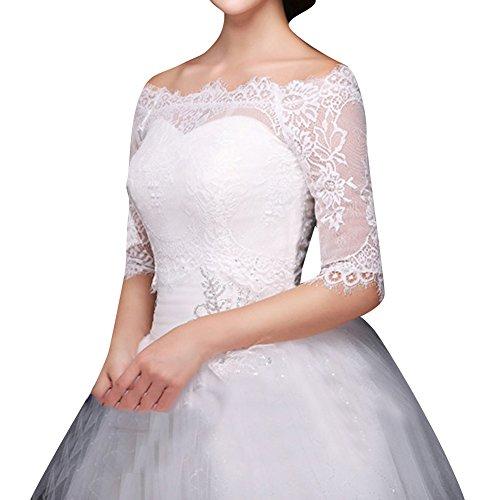 HWAN Frauen weg von der Schulter-Spitze Appliques Jacke, die Bolero Wedding ist Elfenbein 40 (Short Pleated Neck Sleeve Top Scoop)