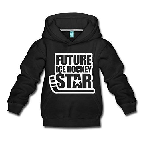 Spreadshirt Eishockey Future Ice Hockey Star Kinder Premium Hoodie, 122/128 (7-8 Jahre), Schwarz