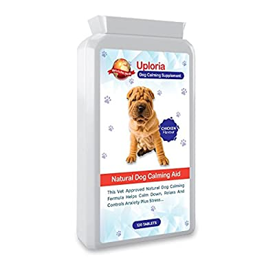 Uploria Pet World Calming Tablets For Dogs | 120 Chicken Flavoured Tablets | The Fast Acting Anxiety Tablets For Dogs Are A Natural De-Stress And Calming Sedatives For Dogs | UK Manufactured. from Uploria Pet World Ltd