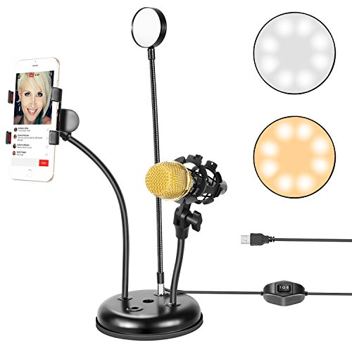 neewer luce ad anello led  Neewer USB LED Selfie Luce ad Anello con Supporto per Cellulare e ...