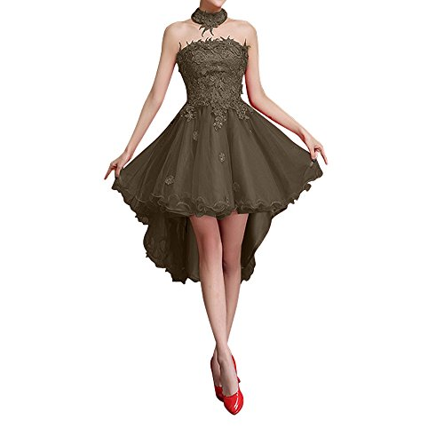Charmant Damen Dunkel Rot Spitze Hi-lo Kurzes Cocktailkleider Brautjungfernkleider Abendkleider A-linie Rock Braun