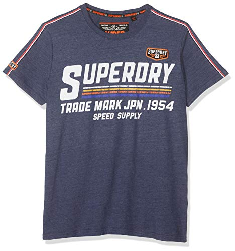 Superdry Herren Custom Classics Tee T-Shirt, Blau (Princedom Blue Marl Bcy), Small (Herstellergröße: S) - Custom Fit T-shirt