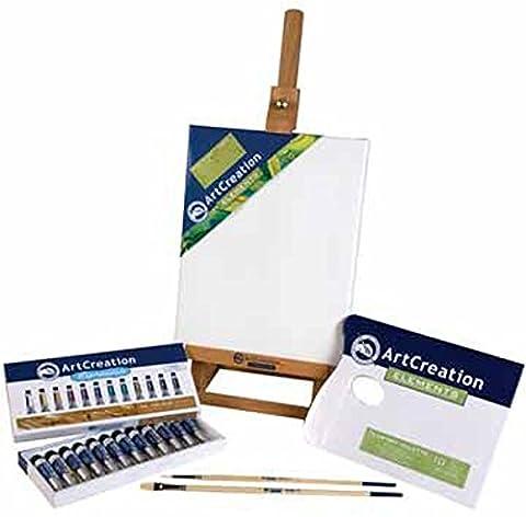ROYAL TALENS Kit combi Art Creation 12 x12 ml peinture à l'huile + chevalet + Toile + palette