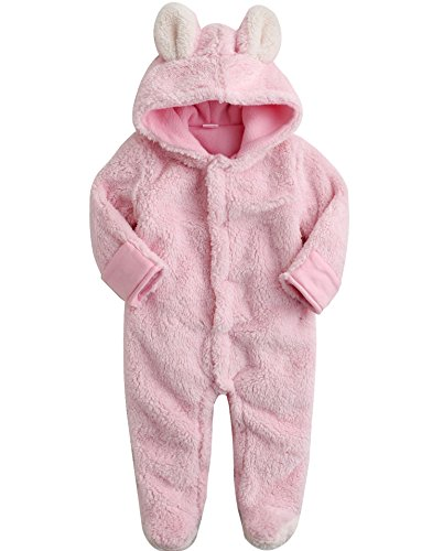 Saeugling Maedchen Winter Fleece Hoodie Schneeanzug Romper Cozy Animal Pink S