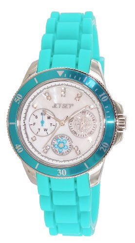 Jet Set J50962-143 Amsterdam Ladies Watch – Analogue Quartz – Mother of Pearl Dial Rubber Bracelet – Turquoise