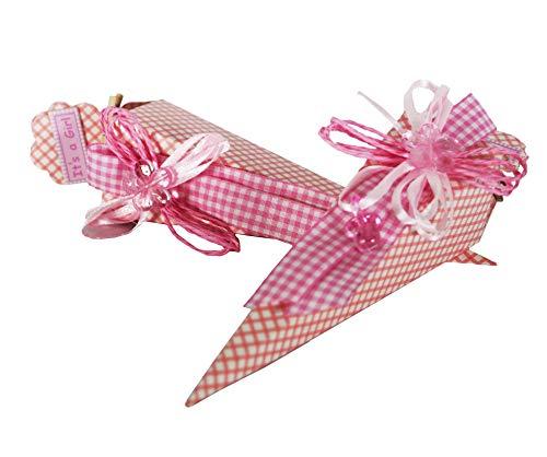 Takestop® set 12 pezzi bomboniera cono scatoline rosa pois 4x4x19 cm bomboniere scatole portaconfetti porta confetti nascita battesimo