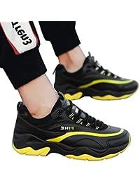 Zapatillas Hombre JiaMeng Zapatillas Running Hombre Zapatillas Deportivas Hombre de Cuero Zapatos Casuales cómodos Zapatillas Antideslizantes Transpirables