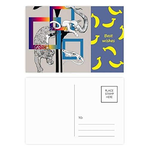 Leopard-eidechse (Animal Leopard Eidechse Schlangenmuster Banana Postkarten-Set Danksagungskarte Postkarte Seite 20 Stück)