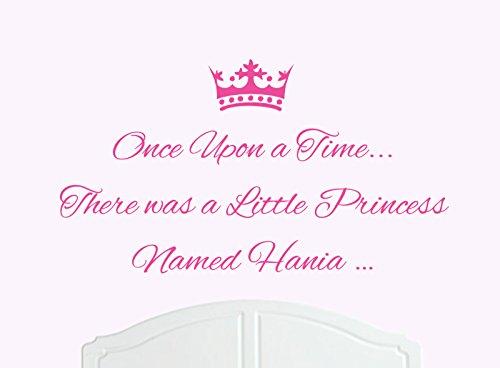 Once Upon a Time c' era una piccola principessa Nominato Hania grande adesivo da parete in vinile letto camera art Ragazza/bambino